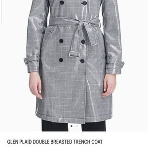 Calvin Klein Glen Plaid Double Breasted Trench XL